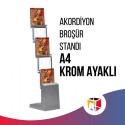 Akordiyon Broşür Standı A4 - Krom Ayaklı
